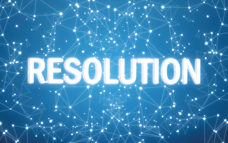 Photo for Resolution on digital interface and blue network background - Royalty Free Image