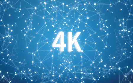 Photo for 4K on digital interface and blue network background - Royalty Free Image