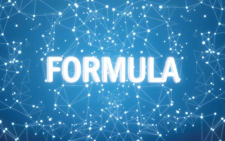 Photo pour Formula on digital interface and blue network background - image libre de droit