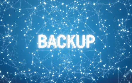 Foto de Backup on digital interface and blue network background - Imagen libre de derechos