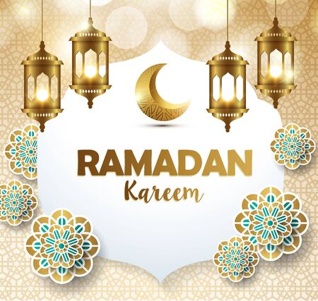 Illustration for Ramadan kareem with golden lantern  template islamic ornate greeting background - Royalty Free Image