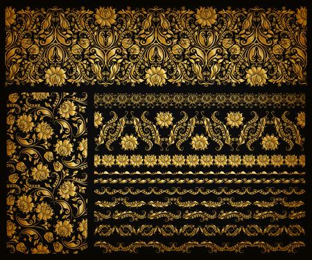 Illustration pour Set of horizontal golden lace pattern, decorative elements, borders for design. Seamless hand-drawn floral ornament on black background. Page, web site decoration. Vector illustration EPS 10. - image libre de droit