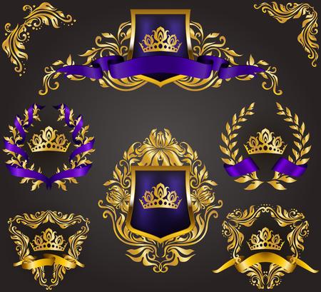Illustration for Set of golden royal shields with floral elements, ribbons, laurel wreaths for page, web design. Old frame, border, crown in vintage style for monograms, label, emblem, badge, logo. Illustration EPS10 - Royalty Free Image