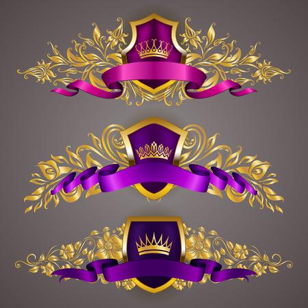 Illustration for Set of golden royal shields with floral elements for page, web design. Filigree monograms, old frames, borders in vintage style for label, emblem, badge, logo, wedding card, invitation. Illustration. - Royalty Free Image