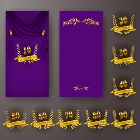 Illustration pour Set of anniversary card, invitation with laurel wreath, numbers. Decorative gold emblem of jubilee on purple background. Filigree element, frame, border, icon,  page design, vintage style - image libre de droit