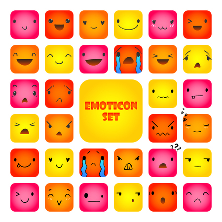 32 Square emoticons with different emotions, vector set of various hand-drawn cute expressions, EPS 10