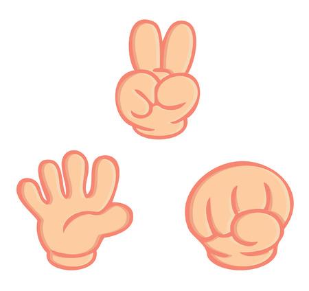 Ilustración de hand sign of rock paper scissors game isolated vector on white background - Imagen libre de derechos