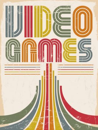 Illustration pour Video Games - vector lettering - poster,  card - eighties video games style - image libre de droit