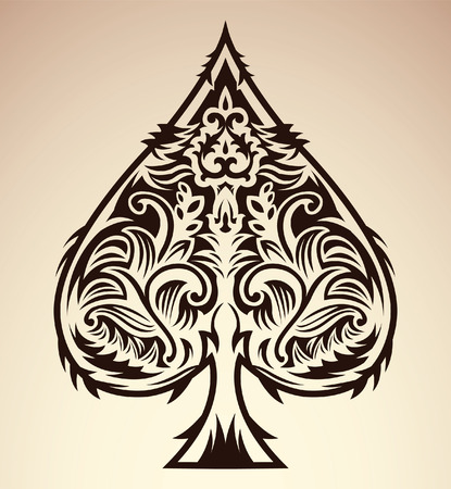 Illustration for Tribal style design - spade ace poker playing cards, vector illustration - Royalty Free Image