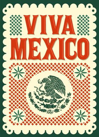 Illustration for Vintage Viva Mexico - mexican holiday - Royalty Free Image