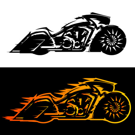 Illustration pour Bagger style motorcycle vector illustration,  Baggers custom motorbike covered in flames - image libre de droit