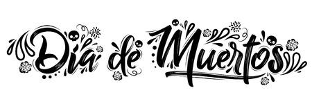 Illustration pour Dia de Muertos, day of the Dead spanish text lettering vector illustration - image libre de droit