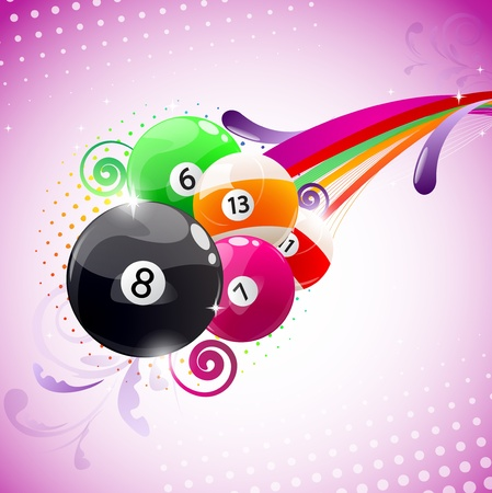 Beautiful colorful background with billiard balls