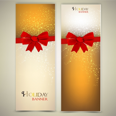Greeting cards with red bows and copy space