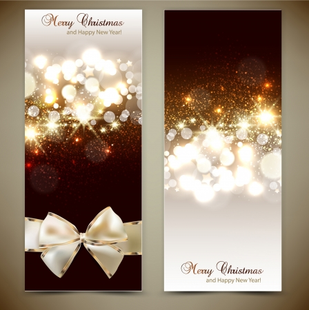 Elegant greeting cards with bows and copy space  Vector illustration