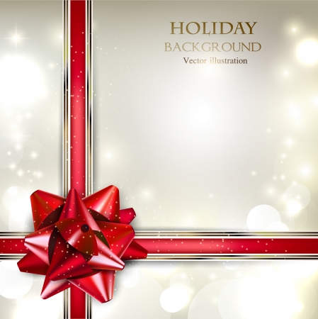 Illustration pour Elegant Holiday background with red bow and place for text. Vector Illustration. - image libre de droit