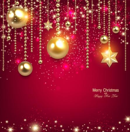 Ilustración de Elegant christmas background with golden baubles and stars. Vector illustration - Imagen libre de derechos