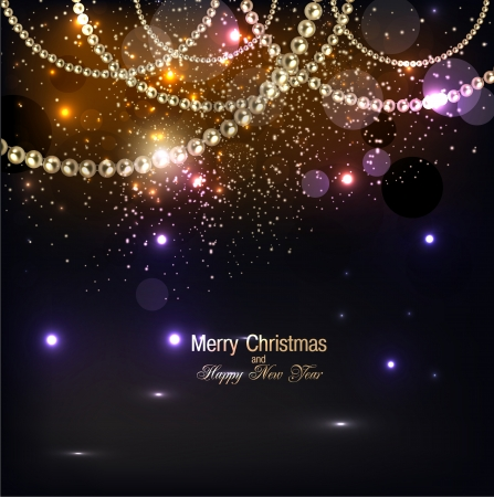Ilustración de Elegant christmas background with golden garland. Vector illustration - Imagen libre de derechos