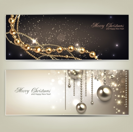 Illustration pour Elegant christmas banners with golden baubles and stars. Vector illustration - image libre de droit