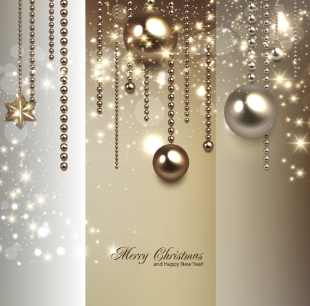 Ilustración de Elegant christmas background with golden baubles and stars. Vector illustration - Imagen libre de derechos