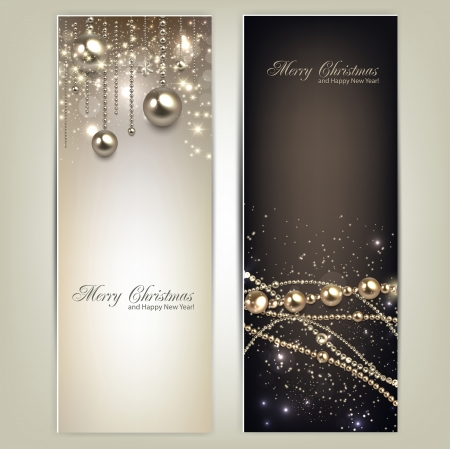 Ilustración de Elegant christmas banners with golden baubles and stars. Vector illustration - Imagen libre de derechos