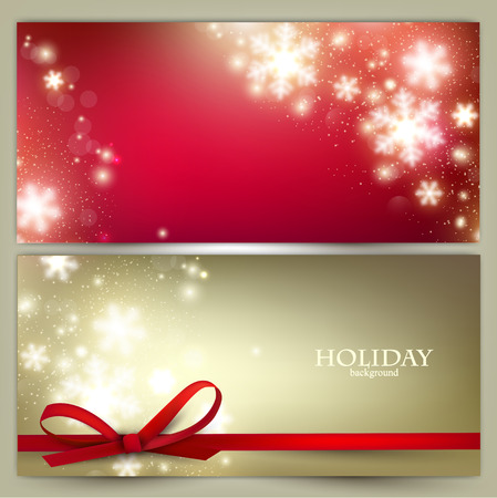 Illustration for Set of Elegant Christmas banners with snowflakes. Vector illustration - Royalty Free Image