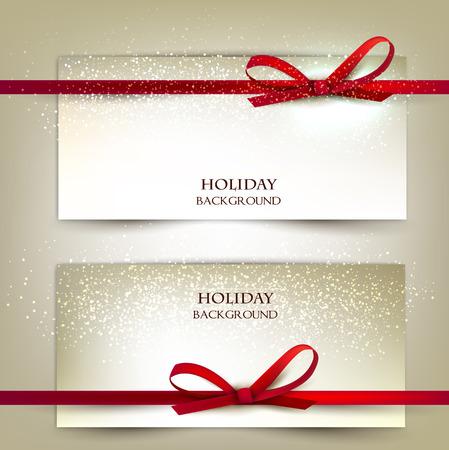 Ilustración de Set of two elegant gift cards with red ribbons.Vector illustration. - Imagen libre de derechos