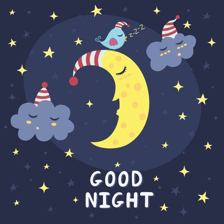 Illustration for Good night card with the cute sleeping moon, clouds and a bird. Vector illustration - Royalty Free Image