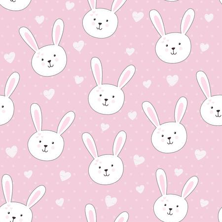 Illustration pour Cute seamless pattern with rabbit in childish style. Vector illustration - image libre de droit