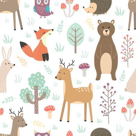 Illustration pour Forest seamless pattern with cute animals - image libre de droit