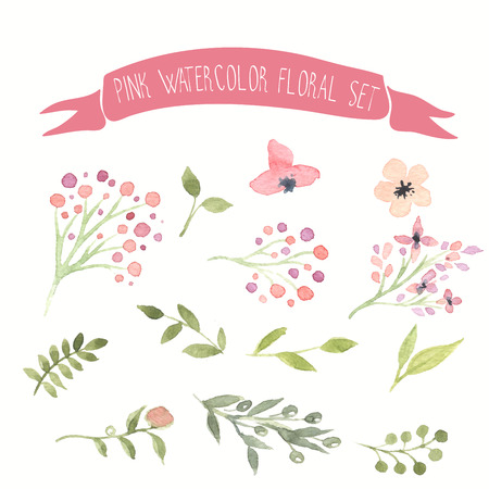 Ilustración de Pink watercolor vector floral set - Imagen libre de derechos