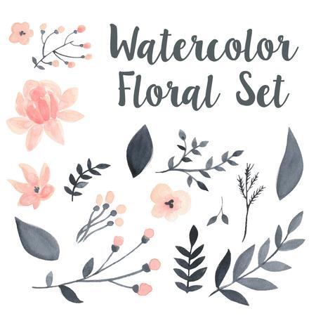 Ilustración de Vector pastel watercolor floral set with flovers and foliage - Imagen libre de derechos