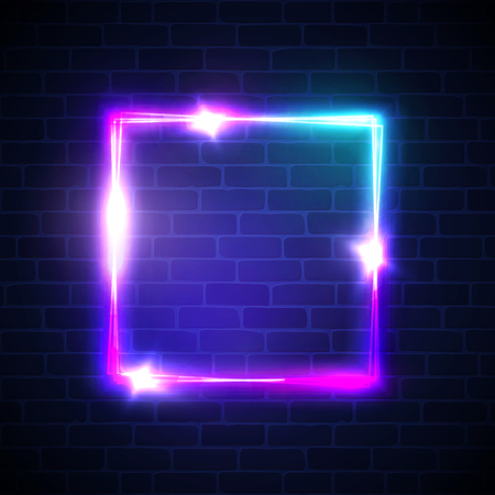 Ilustración de Neon background. Square frame with glowing and light. Electric bright 3d rectangle banner design on brick wall background. Abstract sign with neon colors, flares, sparkles. Vintage vector illustration - Imagen libre de derechos