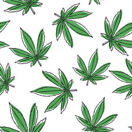 Illustration for Vector marijuana leaves seamless pattern. Vector cannabis background. - Royalty Free Image