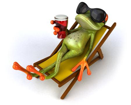 Foto de Cartoon frog on deckchair drinking beer - Imagen libre de derechos