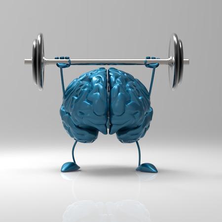 Photo pour 3D brain character lifting a barbell - image libre de droit