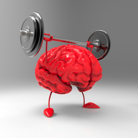 Photo for 3D brain character lifting a barbell - Royalty Free Image