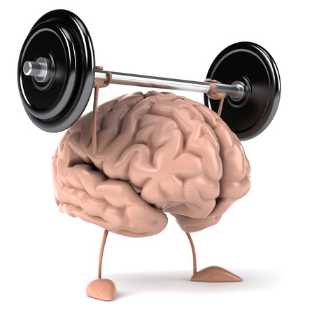 Foto per 3D brain character lifting a barbell - Immagine Royalty Free