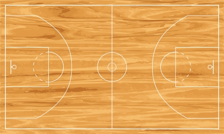 Wooden basketball court.