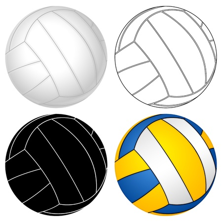 Volleyball ball set on a white background  Vector illustration