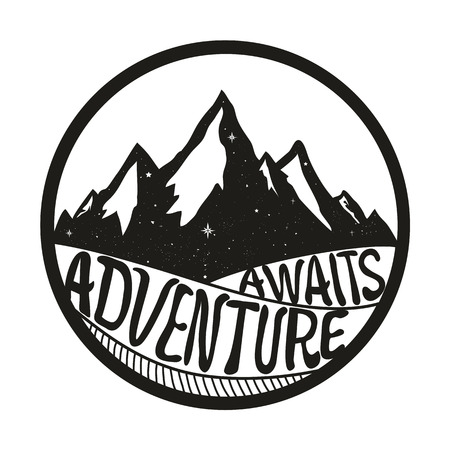 Illustration pour Adventure Awaits. Lettering inspiring typography poster with text, stars and mountains. Vintage style monochrome vector illustration isolated on white background - image libre de droit