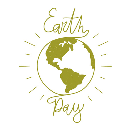 Illustration pour Earth day lettering illustration. Trendy typography poster, ecology concept - image libre de droit