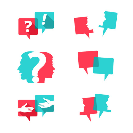 Ilustración de Set of speech bubbles with people and question mark - Imagen libre de derechos