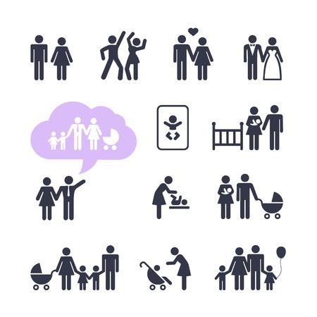 Illustration pour  People Family Pictogram  Web icon set  People Family Pictogram  Web icon set   - image libre de droit