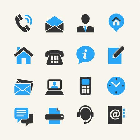 Ilustración de Web communication icon set  contact us  - Imagen libre de derechos