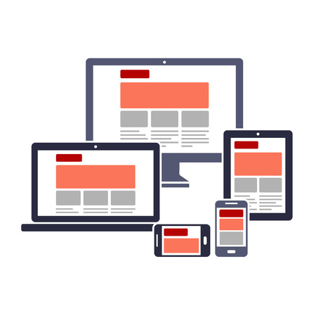 Illustration for Responsive web design on different devices - Royalty Free Image