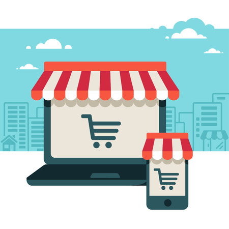 Ilustración de On line store  Sale, Laptop and smart phone with awning  - Imagen libre de derechos