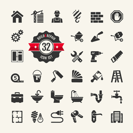 Illustration pour Web icon set - building, construction and home repair tools  - image libre de droit