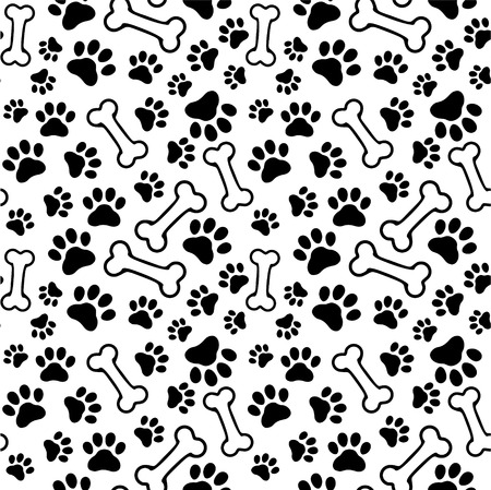 Illustration for Seamless background - pet paw print and bone - Royalty Free Image