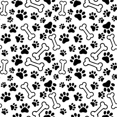 Ilustración de Seamless background - pet paw print and bone - Imagen libre de derechos
